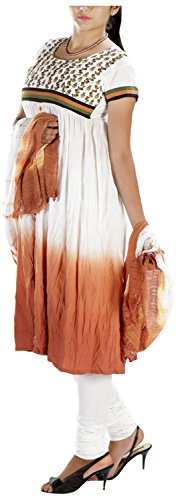MGM Women's Khadi Straight Salwar Suit (MGMK0019_42, White & Brown, 42)