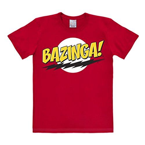 LOGOSHIRT - T-Shirt Herren Bazinga - Big Bang Theory Shirt - Sheldon - rot - Lizenziertes Originaldesign, Größe S (Sheldon Kostüme)