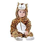 (0-6 mesi) Costume in Morbido Peluche - Pile - Tuta - Tutina Da Leopardo - Travestimento Carnevale - Halloween - Bambina -Bambino Neonato - Unisex -Cosplay