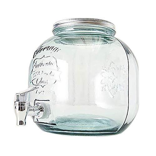 Home Collection Dispensador de Bebida con Grifo Garrafa Barril Vidrio A24 cm 6 litros