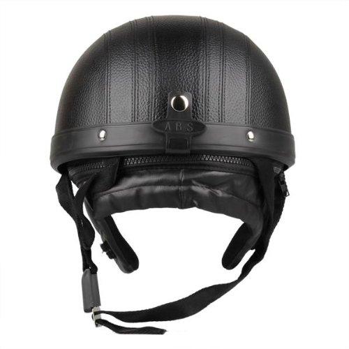 Zimo® Motorrad Scooter Kunstleder überzogen Helm Halbhelm Schutzhelm Motorradhelm Sturzhelm Kampfhelm + Schutzbrillen schwarz