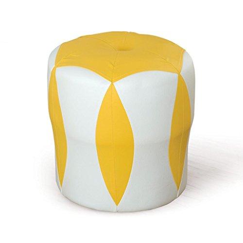Tabouret de canapé Xuan - Worth Having Tabouret de Fleur Blanc + Jaune Tabouret Bas Changer de Chaussures Tabouret de Maquillage en Cuir pour Enfants Tabouret imperméable à l'eau (33 * 33 * 35cm)