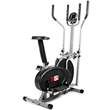 XS Sports Luna Pro 2-in1 Elliptical Cross Trainer Exercise Bike-Fitness Cardio Weightloss Workout Machine-With Seat + Pulse Heart Rate Sensors
