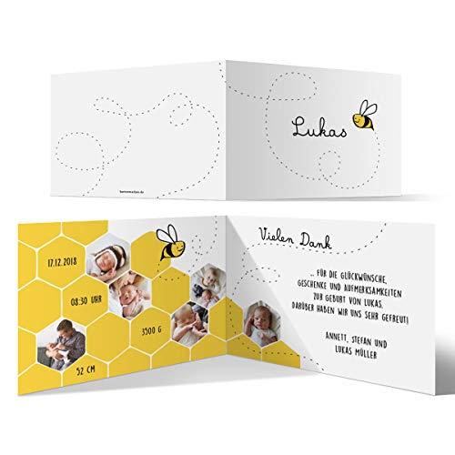 ngskarten Geburtskarten individuell mit Ihren Fotos und Texten als Klappkarte für Mädchen und Jungen - Biene ()