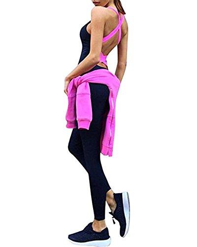 Faith Wings Donne Maniche della Maglia Pantaloni di Yoga di Sport Tuta Pagliaccetto Rosa rossa