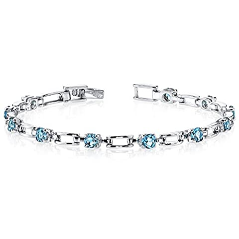 Revoni Gorgeous and Chic: 3.00 carats total weight Round Shape London Blue Topaz Gemstone Bracelet in Sterling Silver