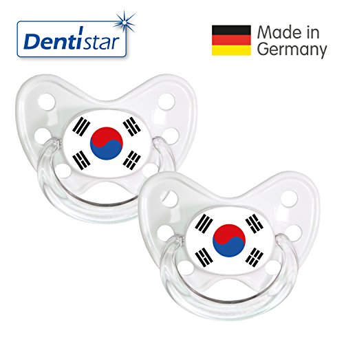 Preisvergleich Produktbild Dentistar® Silikon Schnuller 2er Set inkl. 2 Schutzkappen - Nuckel Größe 3, ab 14 Monate – Fahnen Fan Kollektion – Südkorea