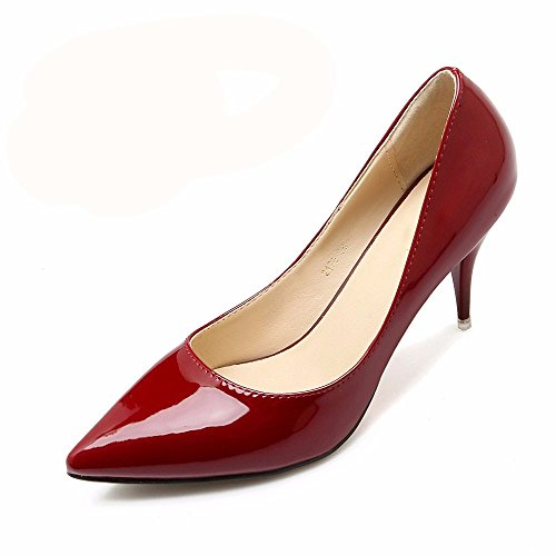 HXVU56546 Les Nouveaux Hauts Talons Élégant Et Attrayant Au Printemps Et DAutomne Chaussures Pour Femmes Chaussures Chaussures De Travail Unique Wine red