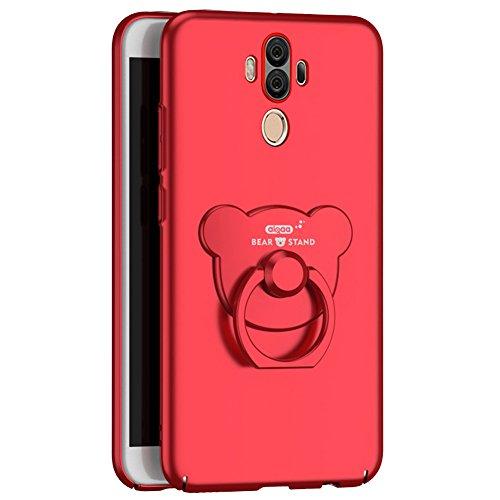 Kompatibel mit Huawei Mate 10 Pro Hülle,Huawei Mate 10 Pro Schutzhülle,[Bär Ständer] Matte Harte Schutzhülle Case Hülle Schlank Hardcase Handyhülle Hülle Tasche Schutzhülle für Huawei Mate 10 Pro,Rot -