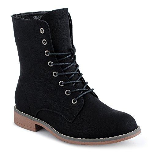 Frühling Schuhe Stiefel (Damen Schnürstiefel Blockabsatz Stiefeletten Biker Boots Stiefel Schuhe Schwarz EU 37)