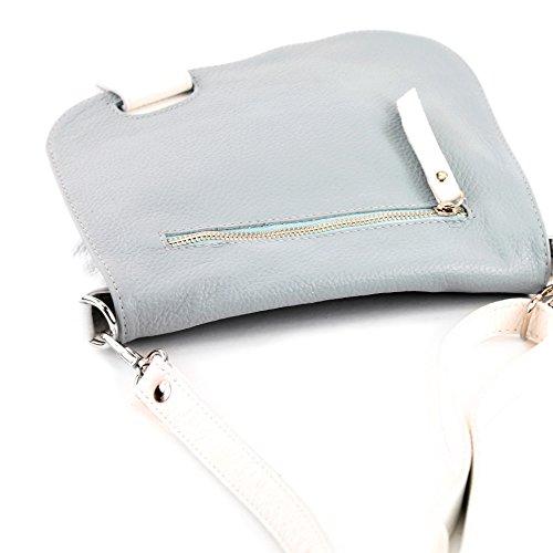 modamoda de -. cuoio ital Borsa da donna Messenger bag borsa a tracolla in pelle borsa NT07 2in1 Weiß/Eisblau