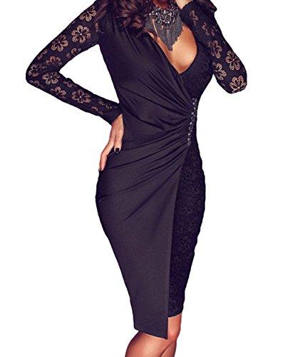 fq-real-black-lace-long-sleeve-asymmetric-splice-dresssizem