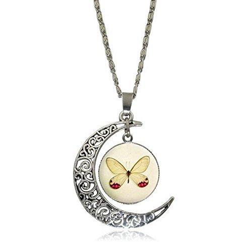 Schmetterling Halskette, Cresent Moon Halskette, Insekten Halskette, schönen Schmuck, Glas Cabochon Halskette, Silber Choker Statement Halskette, Frauen Schmuck -