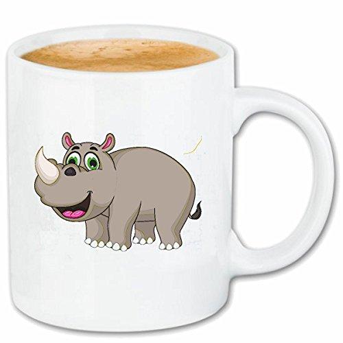Reifen-Markt Kaffeetasse LUSTIGES NASHORN RHINOZEROS Rhino NASHÖRNER UNPAARHUFER SPITZMAUL NASHORN Keramik 330 ml in Weiß