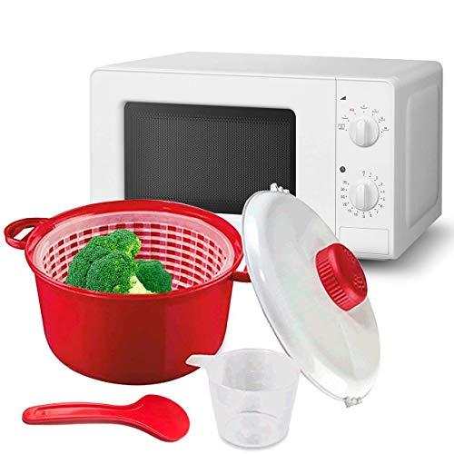 MovilCom® - Olla Vapor microondas | Escurridor, Cuchara y Vaso medidor | Cocina al Vapor | fácil...