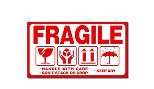 Fully 300stk./Set Fragile Handle with Care DO NOT Press & Throw Hinweis-Etiketten Verpackung Sticker Aufkleber Warnetiketten (Stil C, 9 X 5 cm/3.54X1.96)