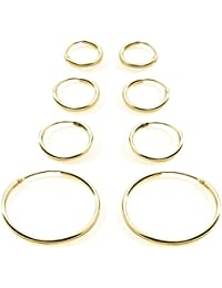 3 Pair Set Premium Gold Plated Sterling Silver Small Endless Hoop Earrings Cartilage, Nose, Lips, 10mm 12mm 14mm