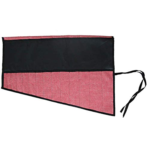 Werkzeugrolle mit 14 Taschen, Werkzeugtasche für Zange, Schraubenschlüssel GJB011 Brown (Pink)