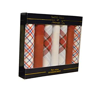 7 Pack Mens/Gentlemens Mix Of Check & Plain Print Handkerchiefs 100% Cotton In & Gift Box, Red