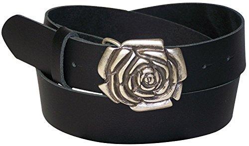 FRONHOFER Damengürtel 4 cm echt Leder, Blumenschnalle, Rose Gürtelschnalle, Jeansgürtel, rosa, mint, pink, weiß, 18090, Größe:Bundweite 90 cm, Farbe:Schwarz Rose Gürtelschnalle