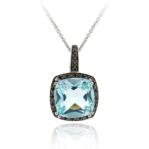 Argento Sterling 1/4 CT. TDW: diamante nero & 7.55 ct. Ct blu topazio ciondolo - Topaz Gemstone Genuine