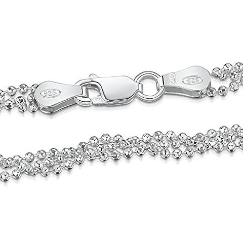 Amberta® Bijoux - Collier - Chaîne Argent 925/1000 - Maille Boule Diamantée - Largeur 2.7 mm - Longueur 45 50 55 cm (50cm)