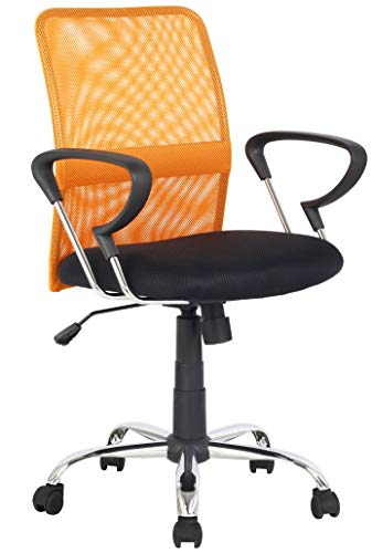 SixBros. Bürostuhl Schreibtischstuhl Drehstuhl Orange/Schwarz H-8078F-2/2116