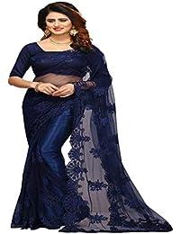 Vinayak Textiles Women's Nylon Net Saree With Blouse Piece Material (VTSN111-NAVY_Neavy Blue_Free Size)