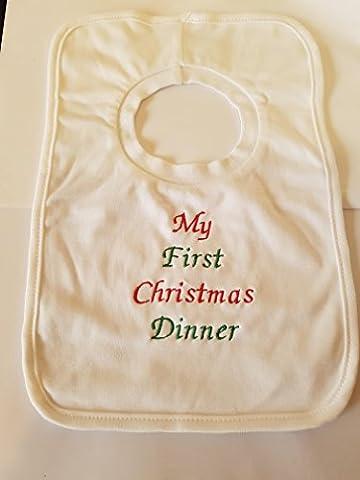 Personalisierte Weihnachts-Lätzchen–My First Christmas Dinner–wunderschön bestickt (kein Aufkleber)