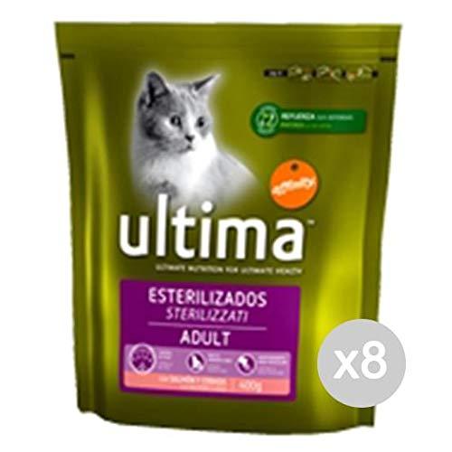 Set 8 ULTIMA Gatto 206 Croccantini Steril Salmone 400Gr Cibo Per Gatti