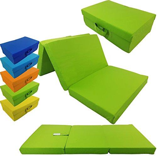 proheim Klappmatratze mit Microfaserbezug viele Größen und Farben wählbar zusammenklappbares Gästebett Faltmatratze faltbares Notbett, Farbe:Apfelgrün, Größe:120 x 60 x 6 cm