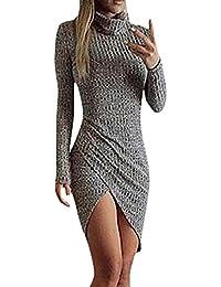 Donne Vestiti da Tubino Eleganti Corti Collo Alto Irregolare Spacco Ragazza Vestitini  Grigio Manica Lunga Slim 715f2bef929