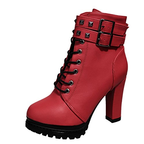 Martin Stiefel Damen Sonnena Ankle Boots Frauen High Heels Plateau Knöchel Stiefel Dünne Ferse Nieten Schnürstiefel Schuhe Leder-Optik Schuhe Reißverschluss Schnallen Blockabsatz (37, Sexy Rot) (Ferse Reißverschluss)