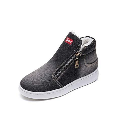 SIKESONG Jeans Stiefel Snow Boots Klassische High-Top Runder Flachbild Beiläufige Schuhe, Schwarz, 5 Jeans-snowboard-boots