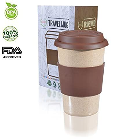 16OZ Reusable To Go Brown Travel Mug Leak proof with Lid & Heat Resistant Non slip Grip. Made with 100% Organic Eco friendly Biodegradable Material FDA approved BPA free. FREE recipe eBook