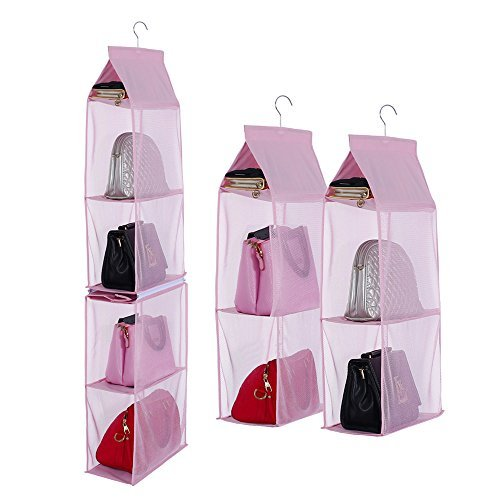 Businda 4Slot Aufbewahrungstasche für Frauen Zum Aufhängen Handtasche Damen Taschen Faltbar Sundry Kleiderschrank Schrank für Mädchen SNGD-Pink