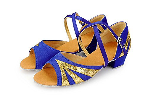 Miyoopark ,  Mädchen Tanzschuhe Blue/Gold-3.5cm Heel
