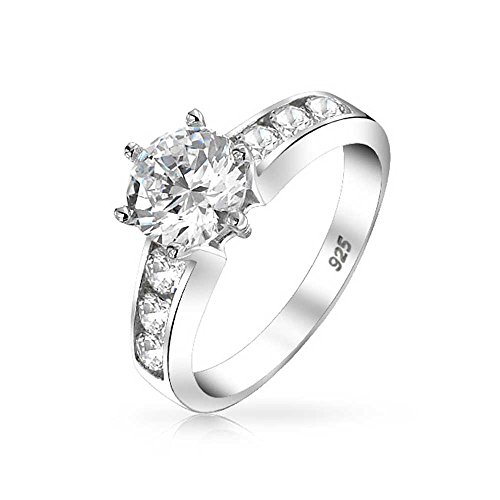 Bling Jewelry 2 CT Runder brillant Solitaire AAA CZ Zirkonia 6 Prong Channel Set Engagement Ring Band 925 Sterling Silber - 2ct Engagement Cz Ring