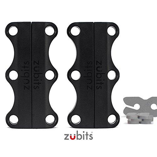 zubits® - Magnetische Schuhbinder/Magnetverschlüsse für Schuhe - Nie wieder Schuhe binden! Größe #3 Performance/Große Erwachsene in schwarz