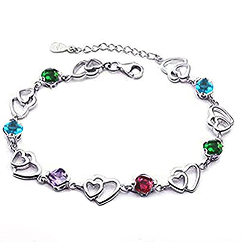 findout Amethyst rot, rosa, blau, weiß-Kristallherz-Silber-Armband für Frauen Mädchen. (Mehrfarbige)
