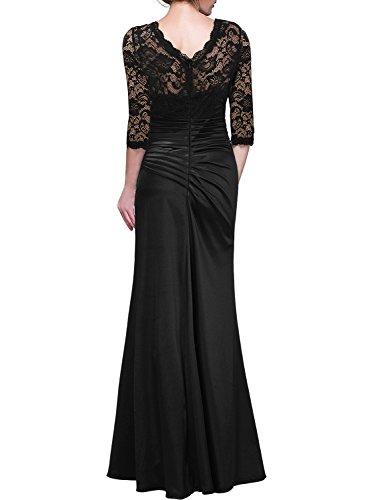 Miusol Femme Manches 3/4 Longue Robe de soirée et de Cocktail Dentelle Pour Mariage Noir