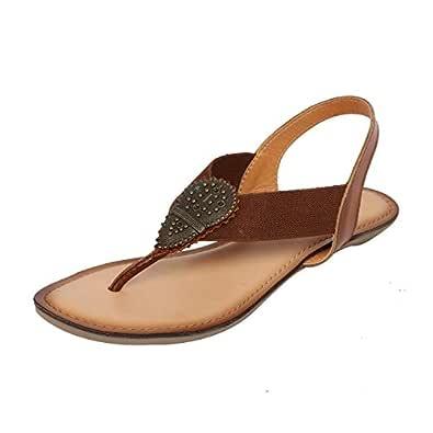 Catwalk Women's Tan Leather Fashion Sandals-4 UK/India (36 EU) (4305T)