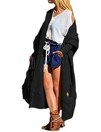 Damen Strickjacke Pullover Cardigan Langarm Oversize Frühling/Winter/Herbst Cardigan Lang Mantel 36 38 40 S M L (658)