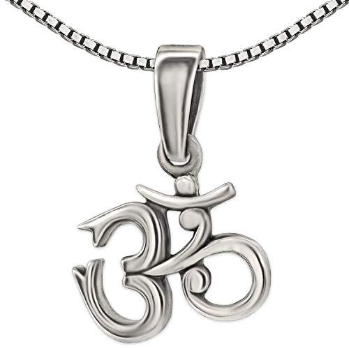 Clever Schmuck Set Silberner kleiner Anhänger Om Zeichen 11 x 13 mm antik & Kette Venezia 42 cm STERLING SILBER 925 Symbol Hinduist Buddhist Yoga Mantra