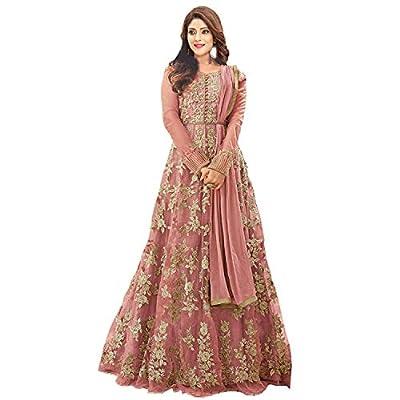 mashur fab Women's Net Embroidered Semi-stitched Anarkali Gown (Multicolour, XXL)