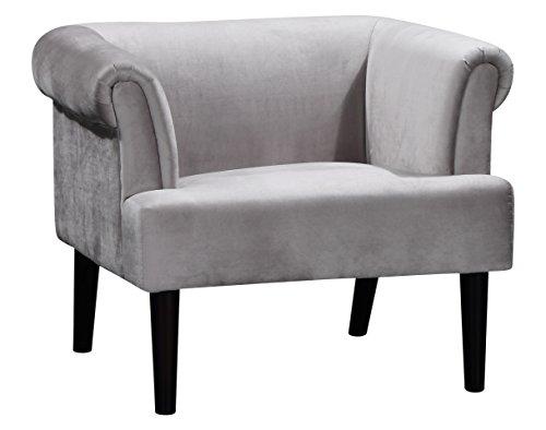 Atlantic Home Collection Charlie Sessel, Armlehnenstuhl mit Massivholzfüßen, Samt, Grau, 74 x 86x 70