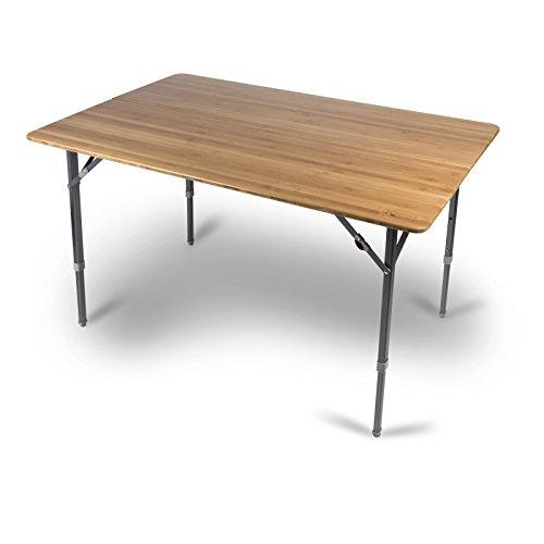 Siehe Beschreibung Klapptisch mit wasserdichter, robuster Bambus Tischplatte 120x80cm • Campingtisch Gartentisch Falttisch Tisch Bierzelttisch