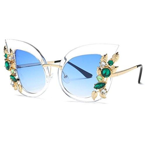 Qmber Sonnenbrille, Frauen Mode künstliche Diamant Katze Ohr Metallrahmen Marke Classic Sonnenbrille hohl geschnitzt dekorative Gläser Metallrand (F) (Katze Dekorative)
