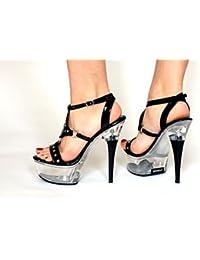 MicheleX última moda - 7952 PVC negro Correa triple del tobillo Sandalias de tacón de aguja de 4.5 pulgadas (42) yuryOcgj