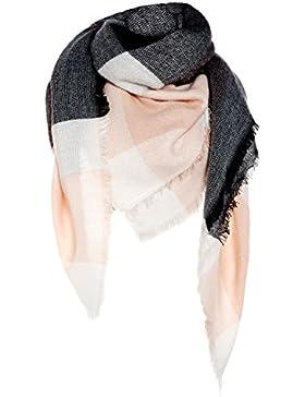 Sciarpa ampia da donna, rettangolare, motivo patchwork, morbida e calda per l'autunno-inverno